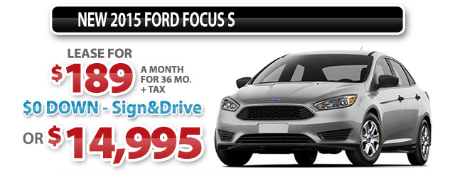 NEW 2015 FORD FOCUS S
