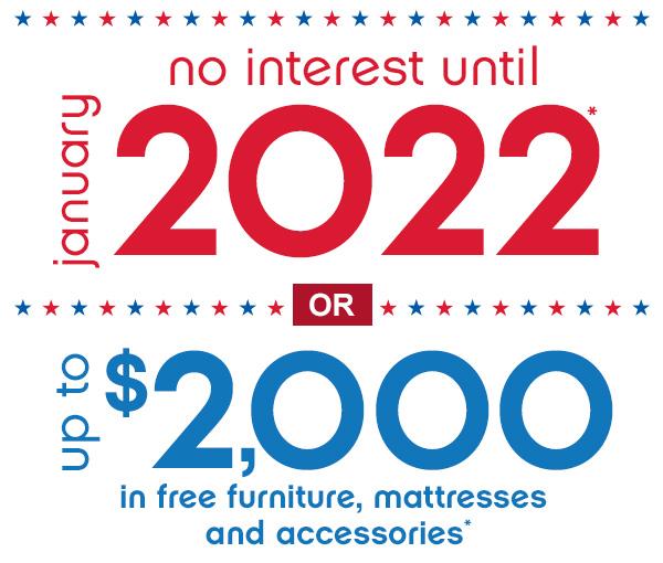 No interest until 2022!