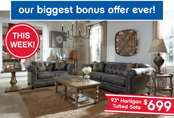 """Our biggest bonus ever! 93"""" Hartigan Tufted Sofa $699."""