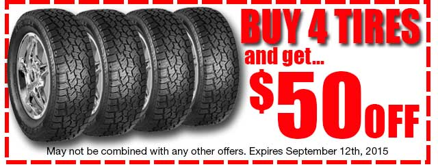 Coupon Buy 4 Tires and get $50 OFF